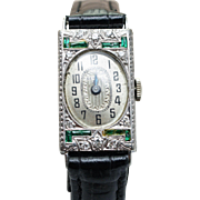 Vintage 18k White Gold Diamond & Emerald Benrus Womens Watch Ladies Wrist Watch