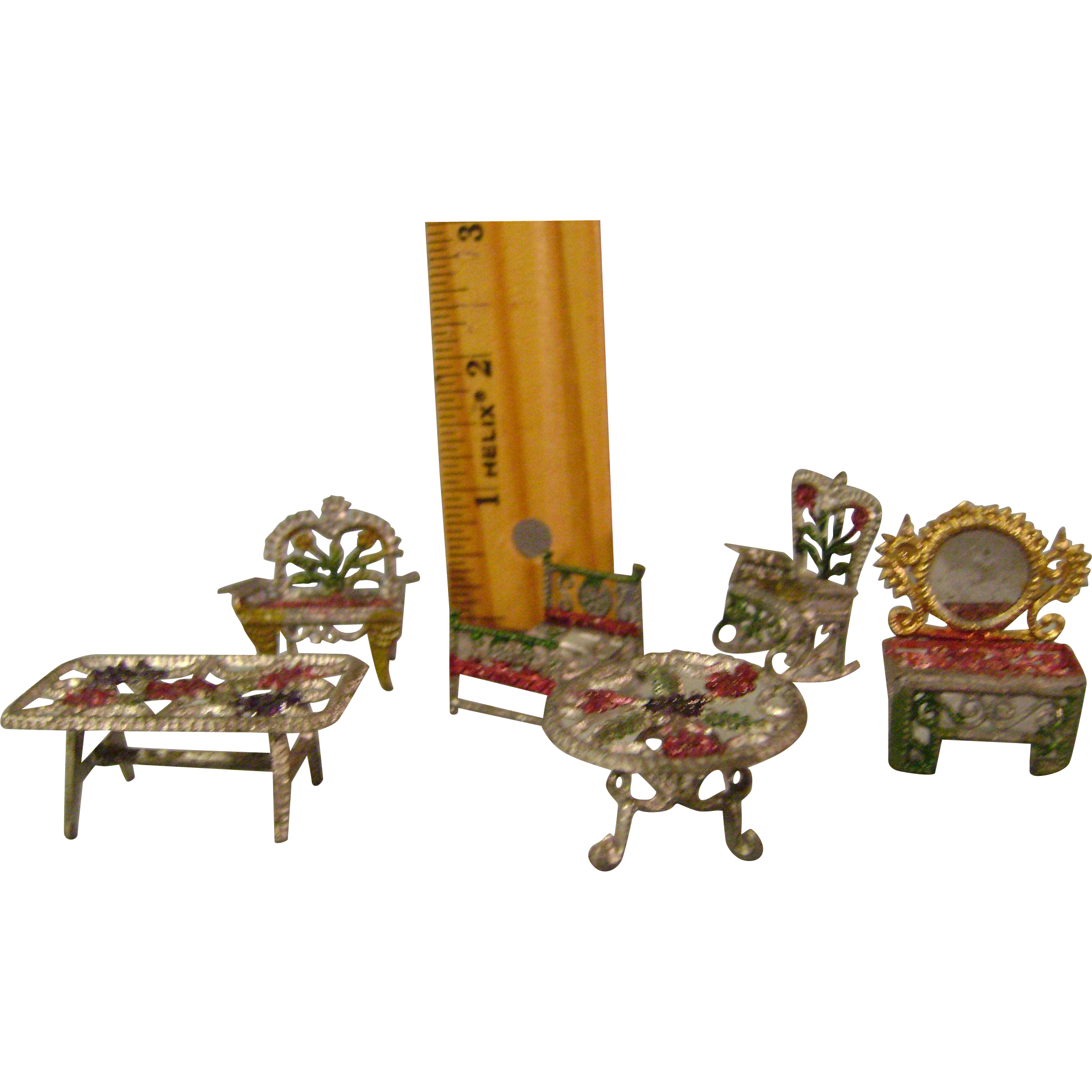Tiny Metal Dollhouse Furniture