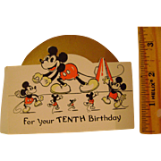 Vintage 1930s Mickey Mouse Tenth Birthday Card