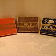 Three Vintage Gold Tip Gum Boxes