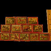 Vintage Paper Litho Animals Stamp Set