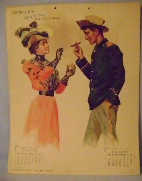 Vintage Armour's Army & NaVY 1899 cALENDAR PAGE