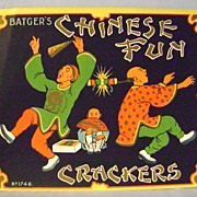 Vintage Batger's Chinese Fun Crackers Paper Sign