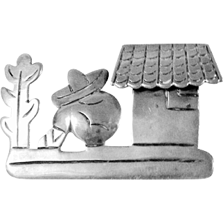 Mexican Silver Pin or Brooch