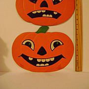 Two Large Vintage Jack O Lanterns Pumpkin Heads