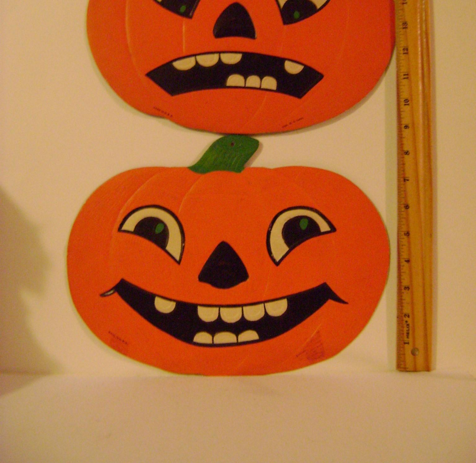 Two Large Vintage Jack O Lanterns Pumpkin Heads