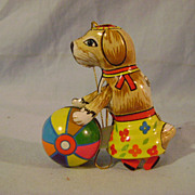 German Tin Toy Dog with Ball