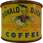 Vintage Donald Duck Coffee Free Sample Tin Bank