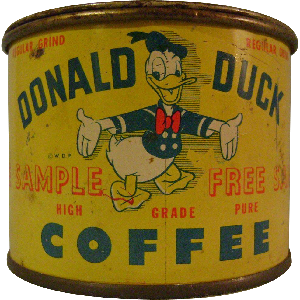 vintage donald duck coffee free sample tin bank from. Black Bedroom Furniture Sets. Home Design Ideas