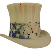 Vintage Milk Glass Top Hat Candy Container