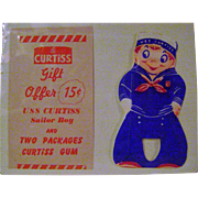 Vintage Curtiss Gum Sailor and Advertising Piece