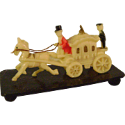 Miniature Celluloid Coach and Horse