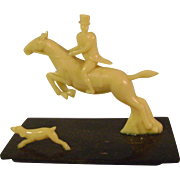 Small Celluloid Foxhunter, Horse and Dog