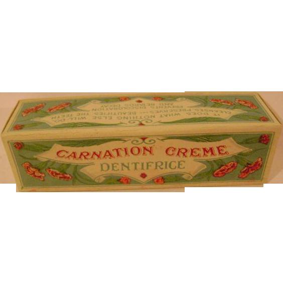 Vintage Carnation Creme Dentifrice Cardboard Box