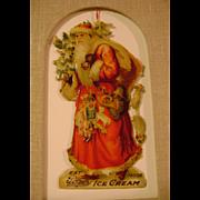 Vintage Die Cut Santa for Page's Ice Cream and Milk