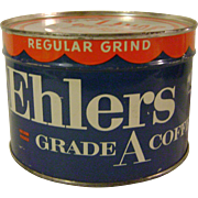 Vintage Unopened Ehlers 1 Pound Coffee Tin