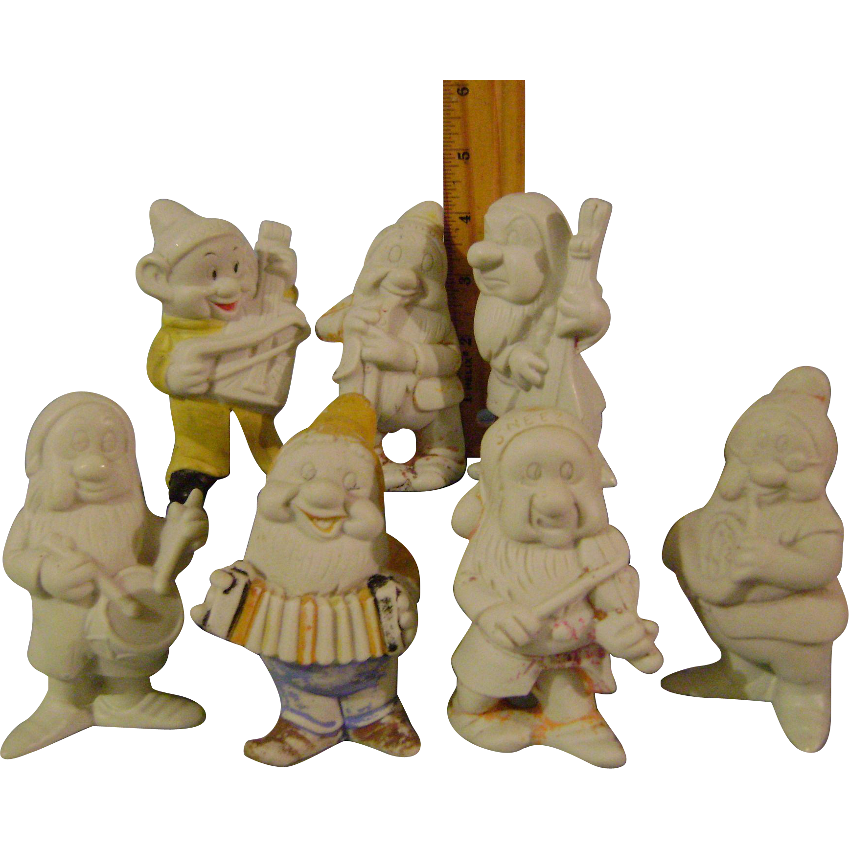 Vintage Larger Set of Disneys Bisque Seven Dwarfs Musicians