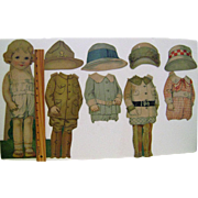 Vintage Cardboard Standup Paper Doll with Four Outfits