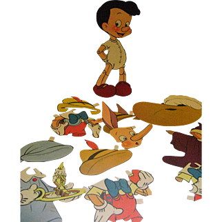 Vintage Pinocchio Paper Doll with 5 Oufits