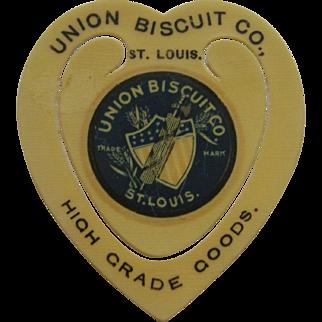 Vintage Celluloid Union Biscuit Co. Bookmark