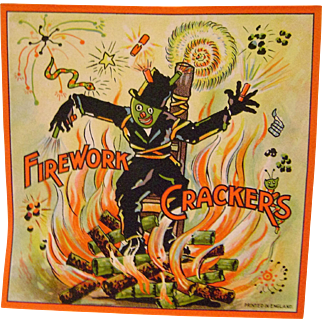 Vintage Firework Crackers Paper Scarecrow Advert