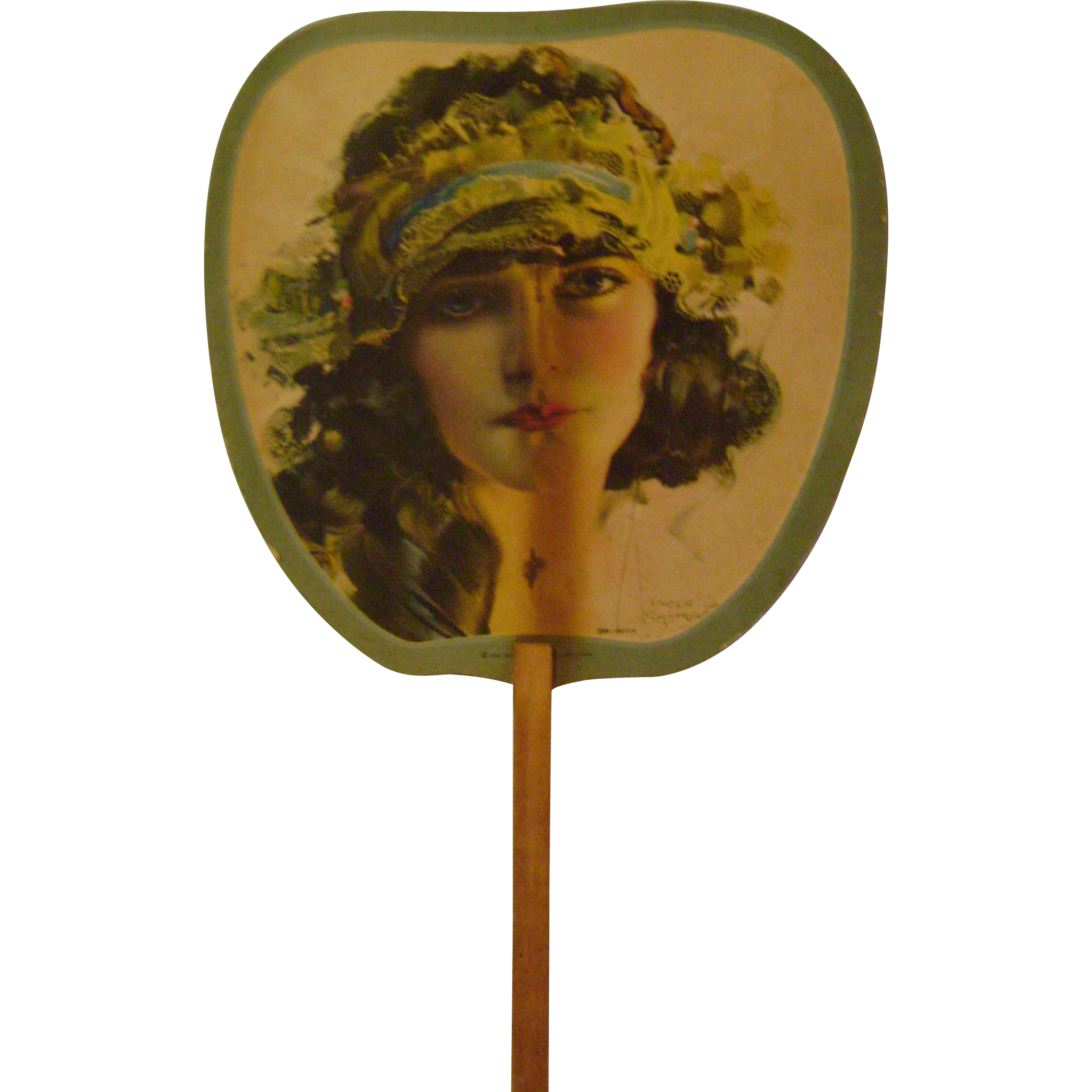 Vintage Rolf Armstrong Cardboard Hand Fan