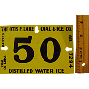 Vintage Small Tin Ice Sign
