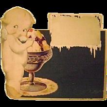 Vintage Cardboard Kewpie Ice Cream Sign