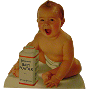 Vintage Cardboard DieCut Johnson Baby Powder Sign