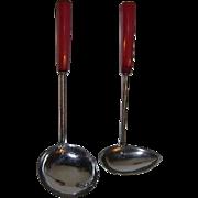 Vintage Ladles or Dippers with Red Bakelite Handles