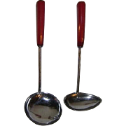 Vintage Ladles or Dippers with Red Bakelite Handles
