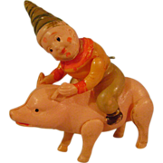Vintage Celluloid Clown on Pig Rattle