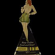 Vintage  Die Cut Cardboard Instant Rit Dye Sign