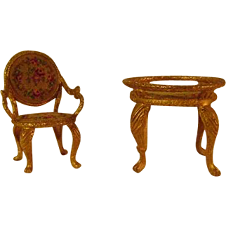 Vintage Fancy Metal Doll Furniture Table and Chair