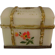Vintage Milk Glass Trunk Candy Container