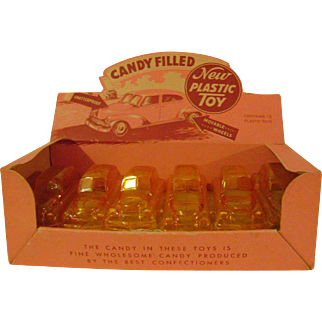 Boxed Set Vintage Plastic Toy Car Candy Containers