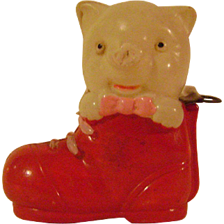 Vintage Celluloid Pig in Boot