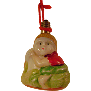 Vintage Painted White Milk Glass Boy in Swan Boat Christmas Tree Light