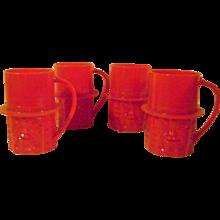 4 Vintage Planters Mr. Peanut Red Plastic Cups