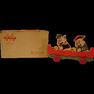 Vintage Three Pigs Pull Toy in Original  Box