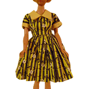 Vintage Yellow and Grey Stripped Doll Dress