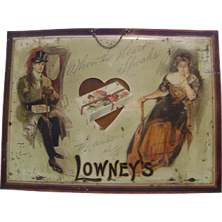Early Self Framed Lowneys Chocolate Tin Sign