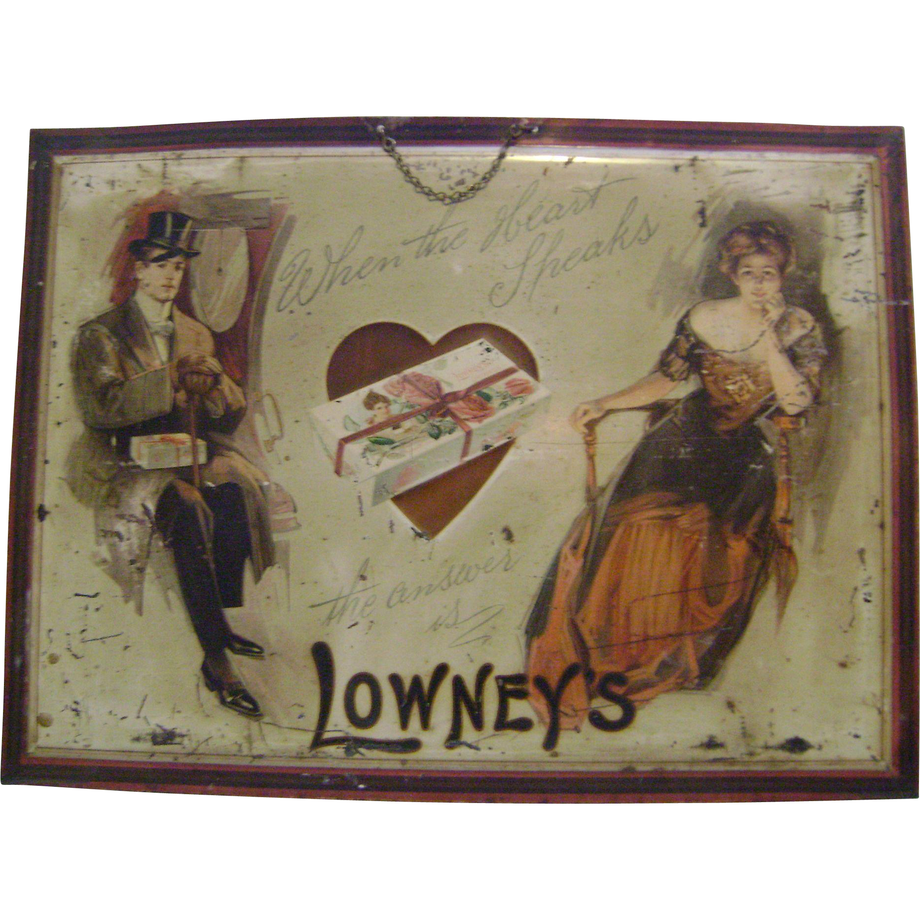 Early Self Framed Lowneys Chocolate Tin Sign