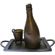 Vintage Champagne Bottle and Glass (Thimble)