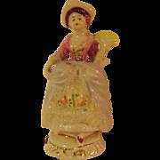 Vintage 5 inch Porcelain  Colonial Woman Tape Measure