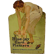 Vintage  Blue-jay Corn Plaster Tin Store Display