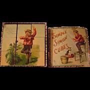 Vintage McLoughlin Bros.Simple Simon Paper Litho and Wood Blocks
