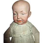 """Tiny 12"""" Antique German Kaiser Baby Doll in Antique Christening Gown"""