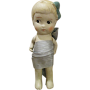 Pretty All Bisque Doll with Molded Ribbon and Hair