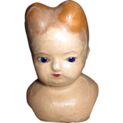 Antique Wax Doll Head with Glass Eyes